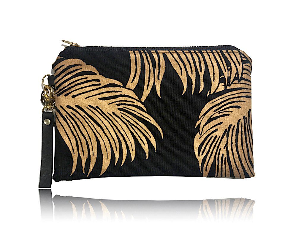 Palms Wristlet Clutch: Black w/ Gold