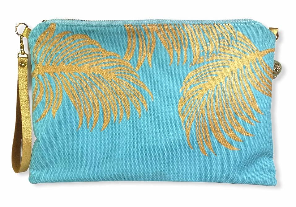 Palms Crossbody Bag: Mint w/ Gold
