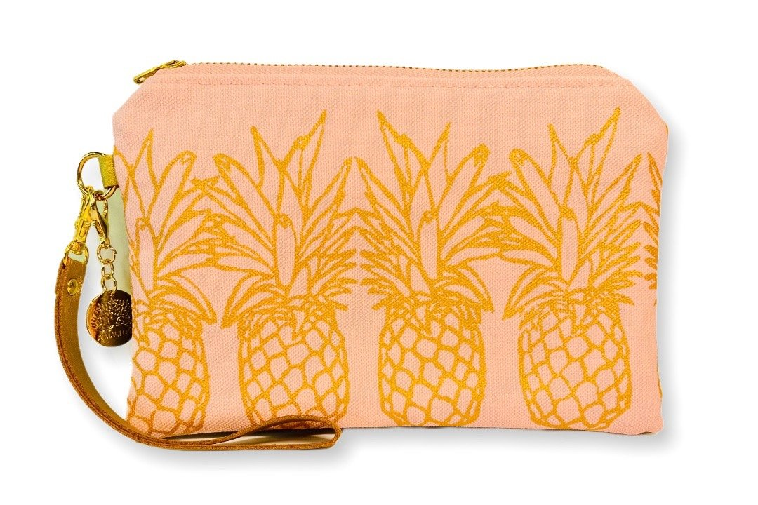 Pineapples Wristlet Clutch: Coral w/ Gold