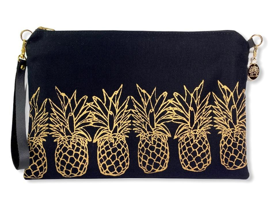 Pineapples Crossbody Bag: Black w/ Gold