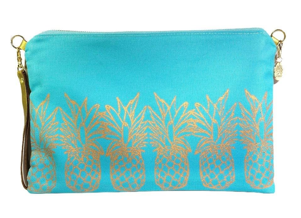 Pineapples Crossbody Bag: Mint w/ Gold