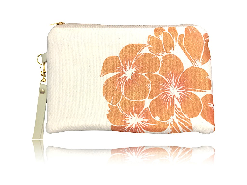 Plumeria Wristlet Clutch: Canvas w/ Gold