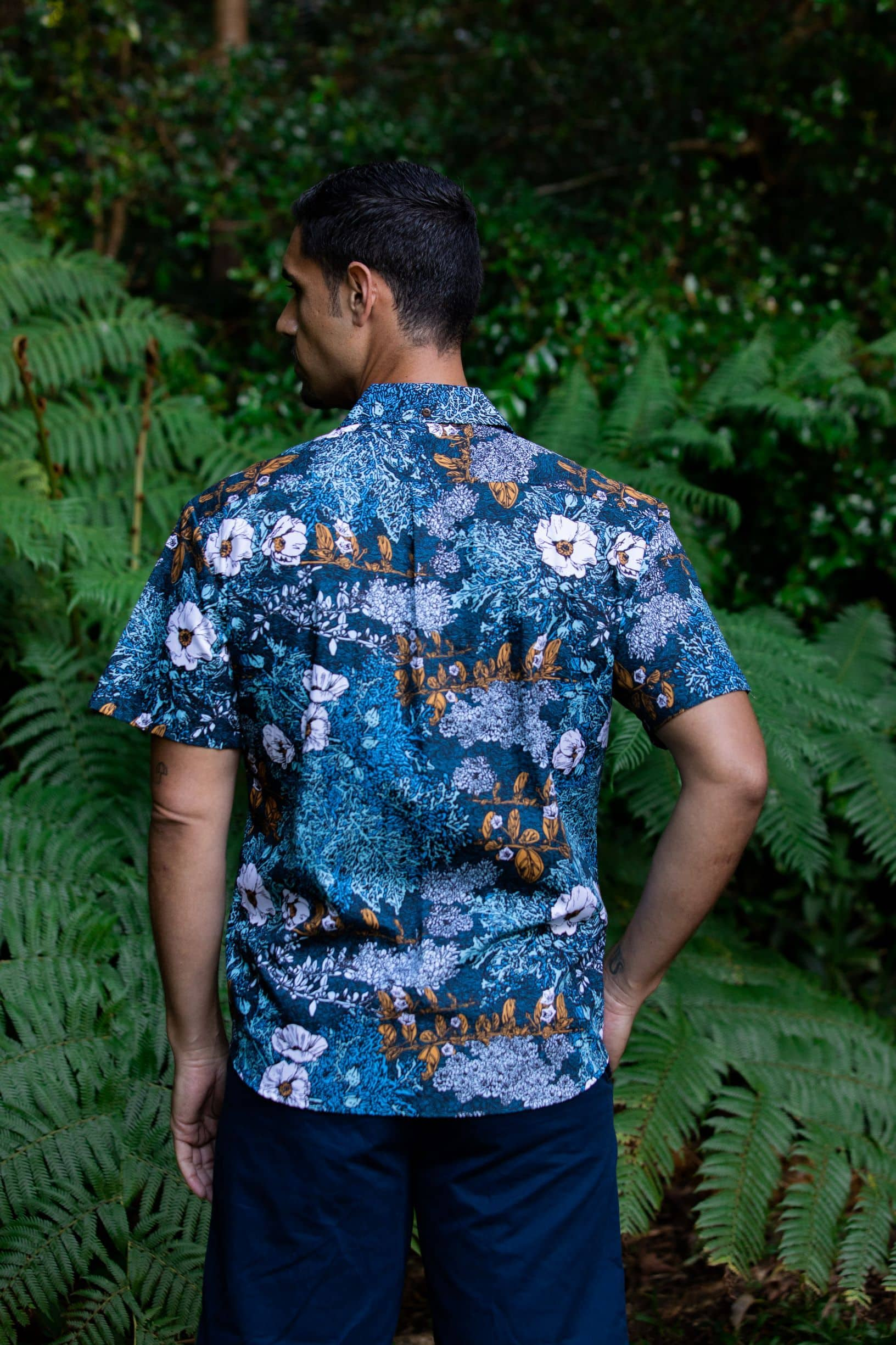 Puakala Pacific Blue Men's Aloha Shirt