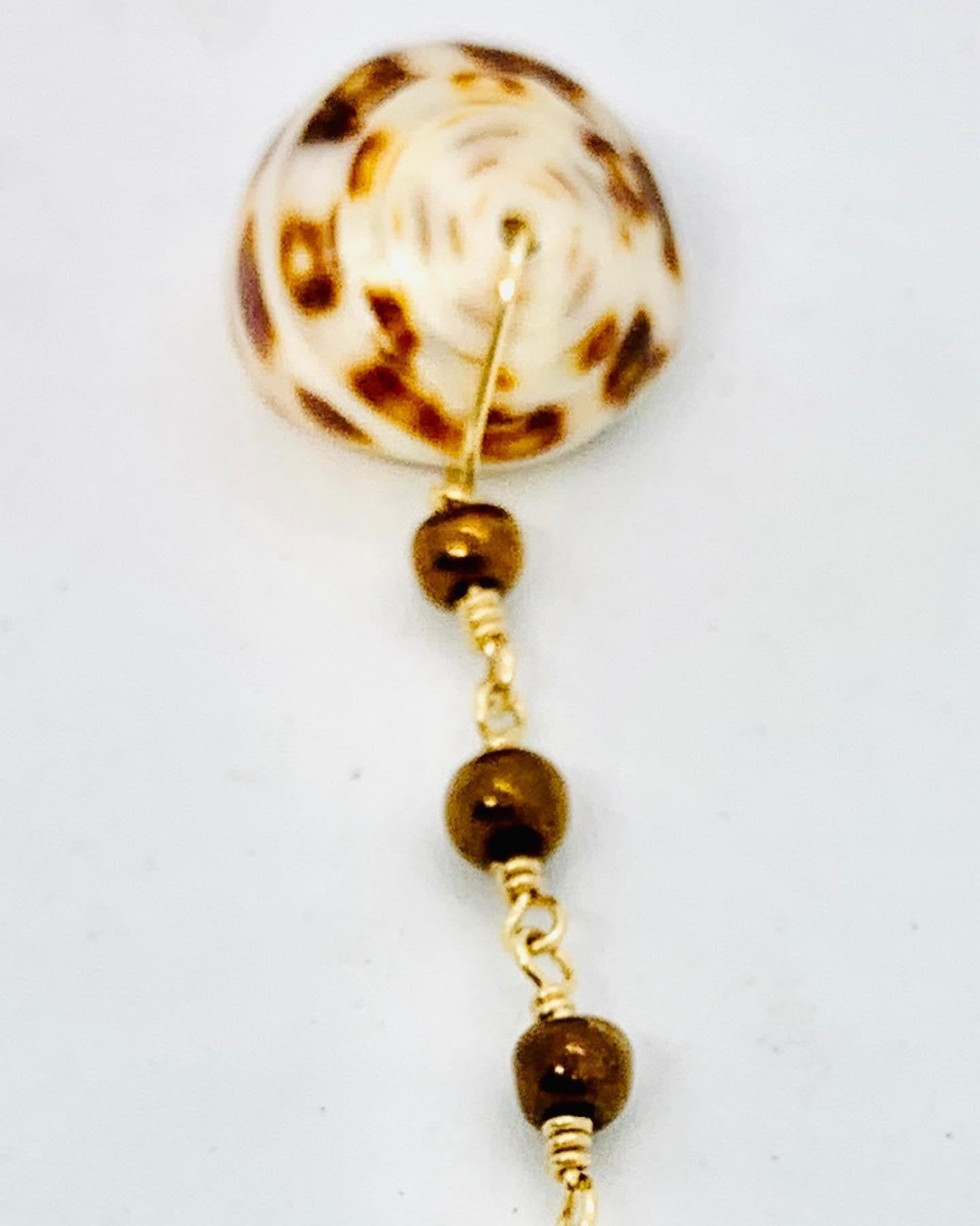 Puka Shell and Brown Bead Lariat
