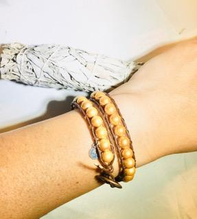 8mm Gold Shell Pearl - Double Wrap Leather Bracelet