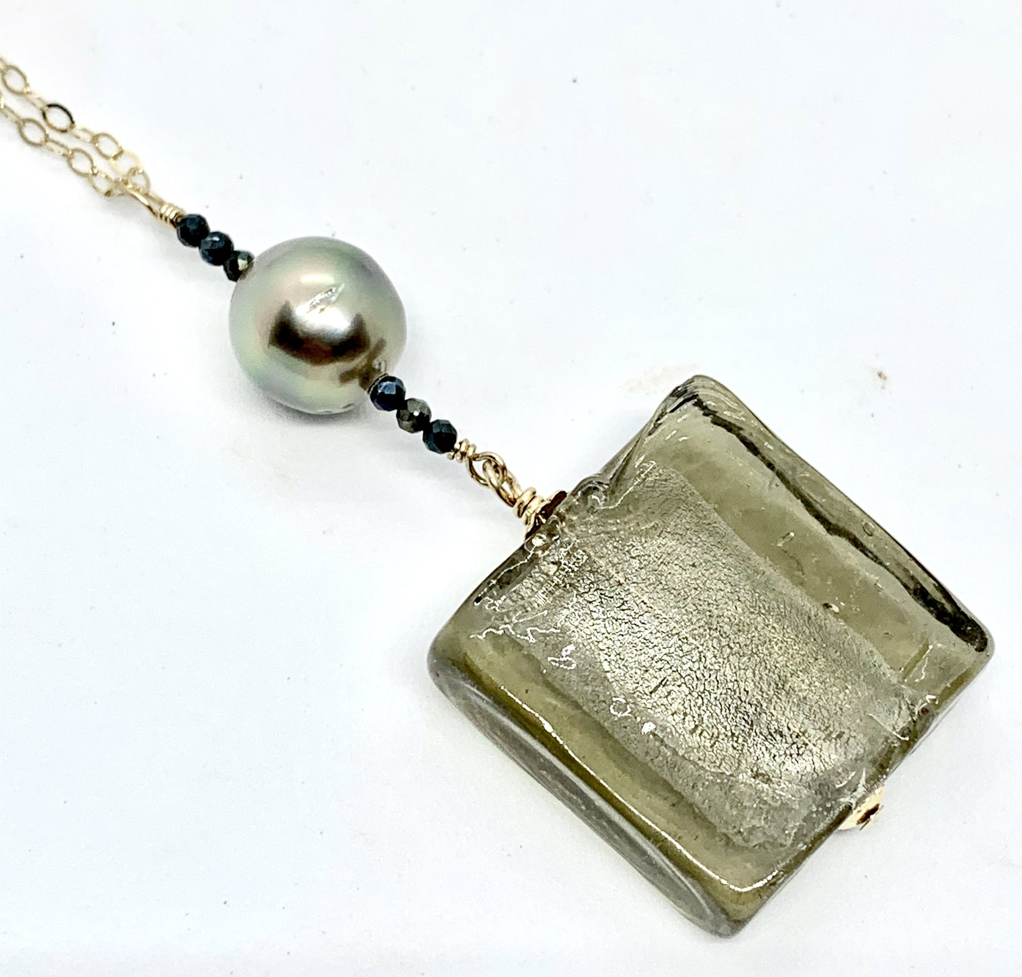 Silver Infused Glass and Tahitian Pearl Necklace