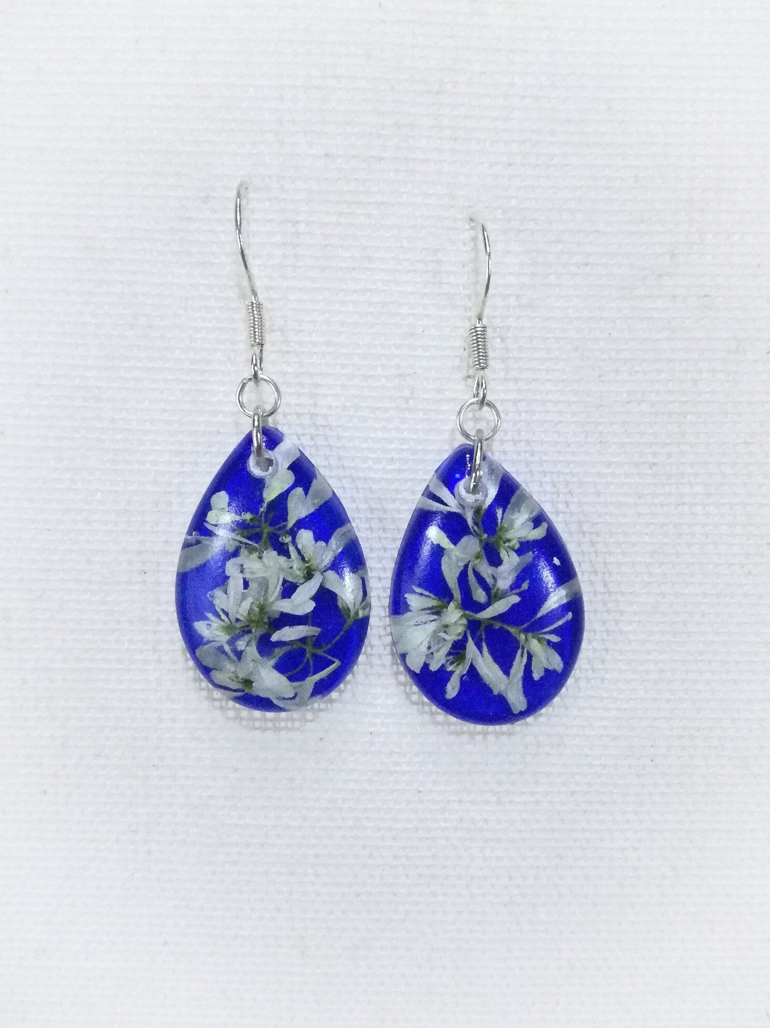 Small Blue Poinsettia Earrings