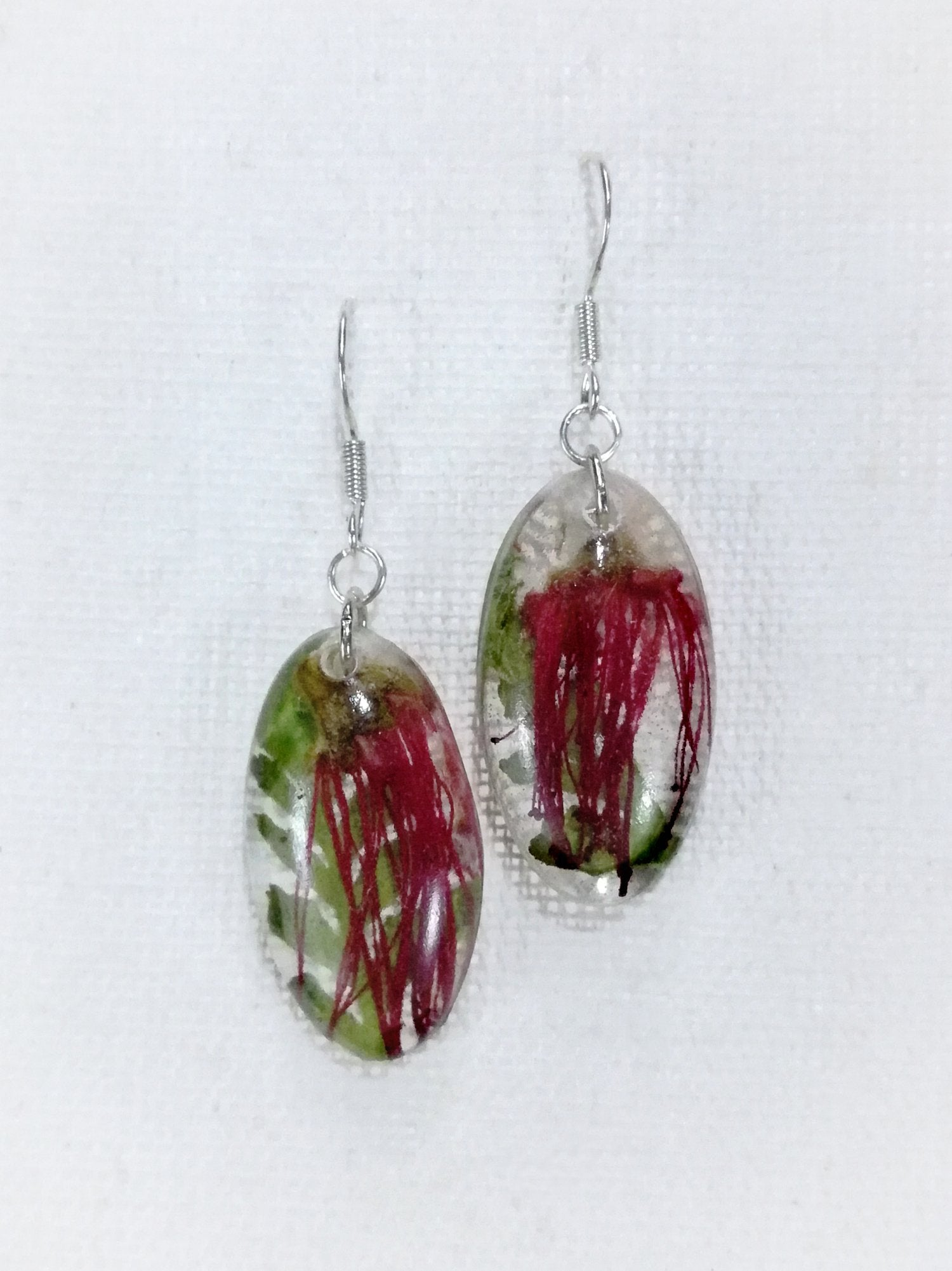 Small Lehua Blossom & Palapalai Fern Earrings