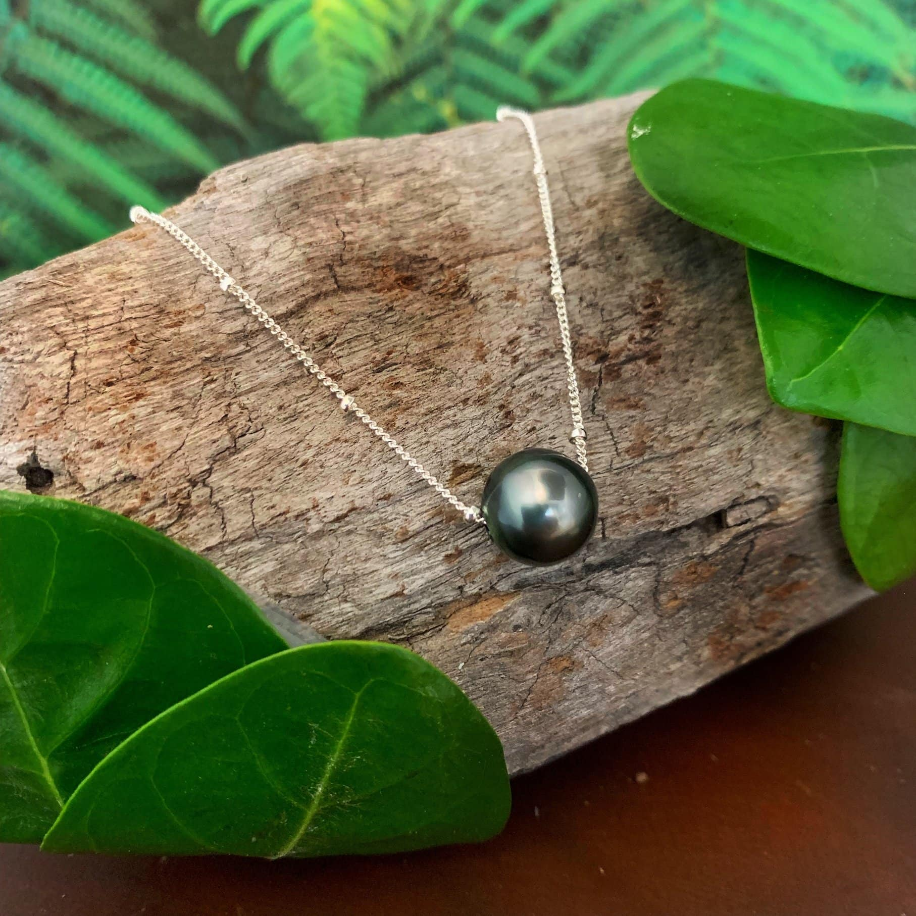 Tahitian Pearl Necklace, Sliding Pearl with Satellite Chain , Sterling Silver