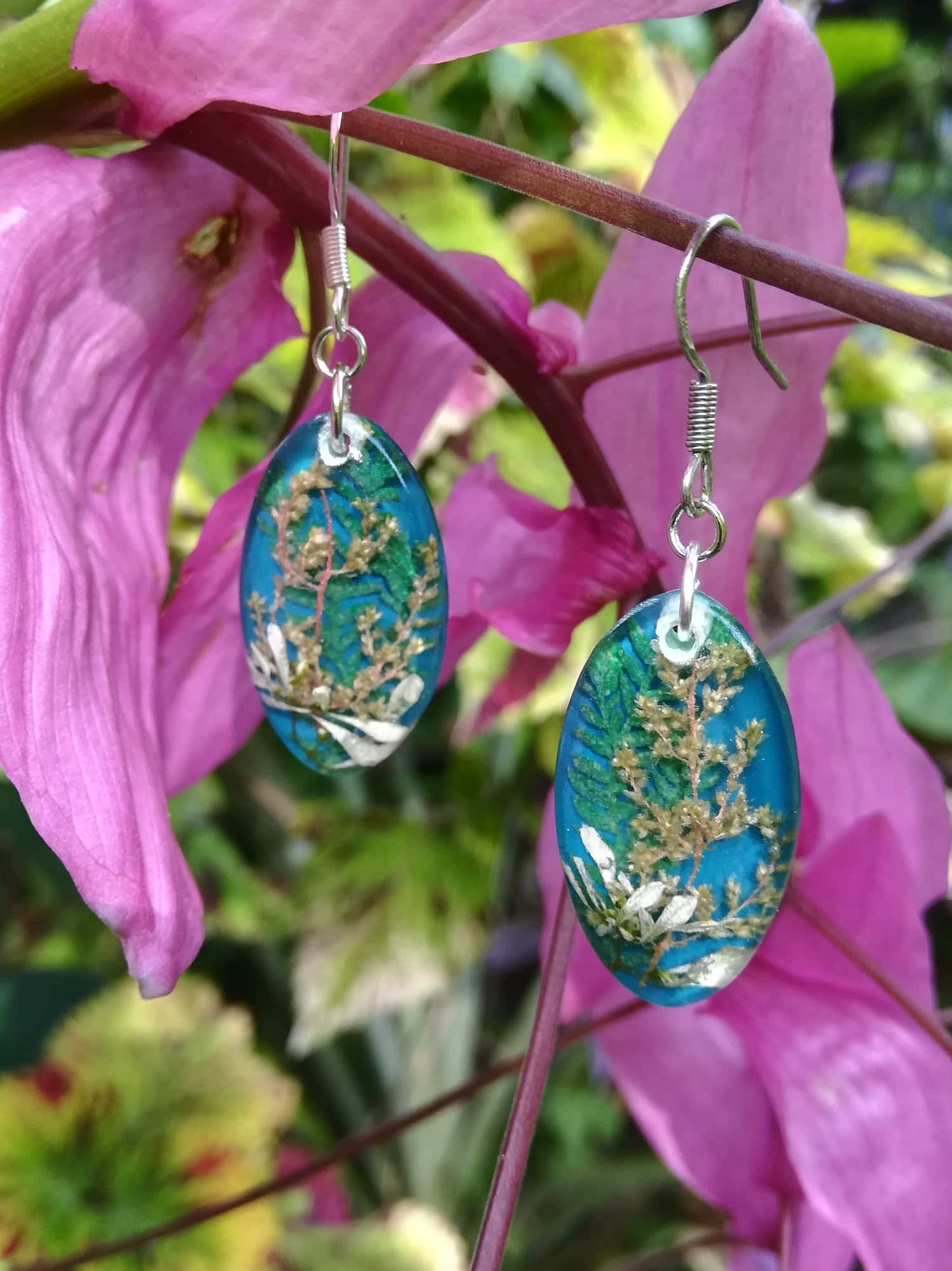 Teal Mini Garden Earrings