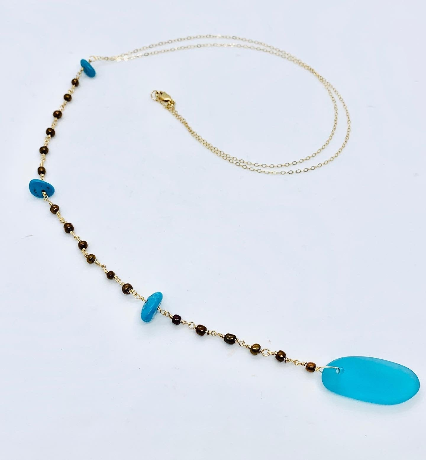 Turquoise Glass, Gems and Bead Lariat