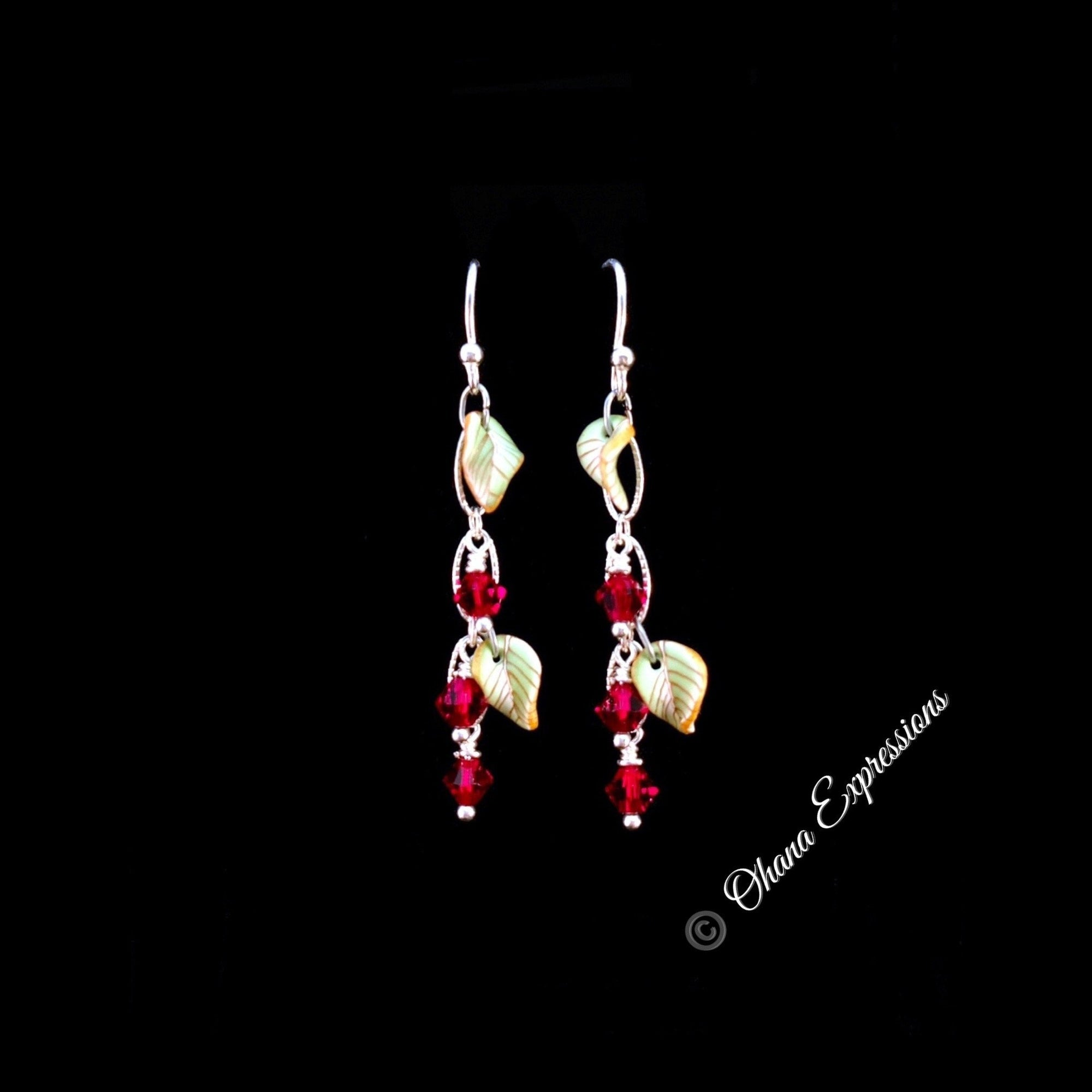 Contemporary Maile Dangle Earrings - Ruby Red