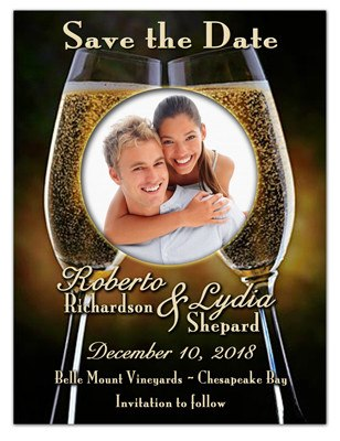 Save the Date Magnets | Champagne Glasses w/ Photo