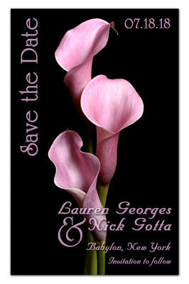 Save The Date Flower Magnets | Three Pink Calla Lilies | MAGNETQUEEN