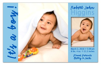 "Birth Announcement Magnets | It""s A Boy 