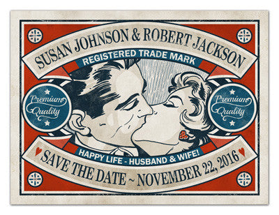 Retro Save The Date Magnets | Happy Life | MAGNETQUEEN
