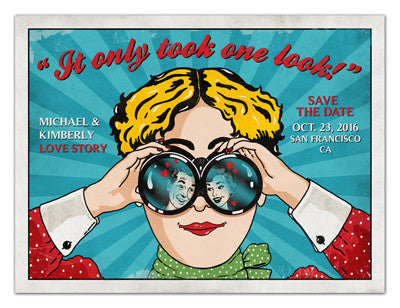 Retro Save the Date Magnets | Just One Look | MAGNETQUEEN