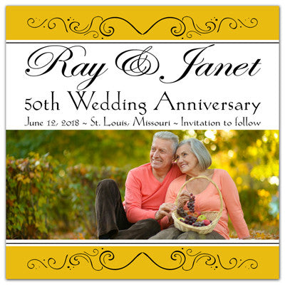 50th Anniversary Custom Save The Date Photo Magnets | Sweet Love