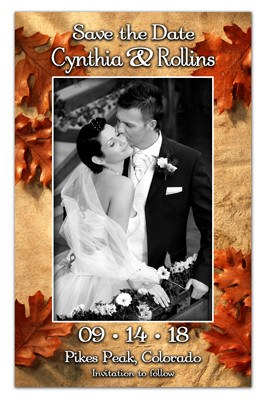 Fall Save The Date Magnet | Leaves and Sand | MAGNETQUEEN