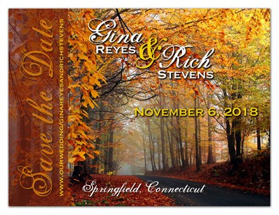 Fall Save the Date Magnets |<br>Autumn Path - MAGNETQUEEN