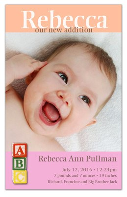Birth Announcement Magnet | Alphabets Girl