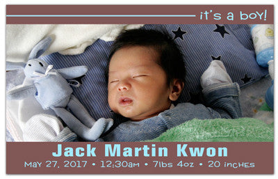 Birth Announcement Photo Magnets | Classy Boy | MAGNETQUEEN