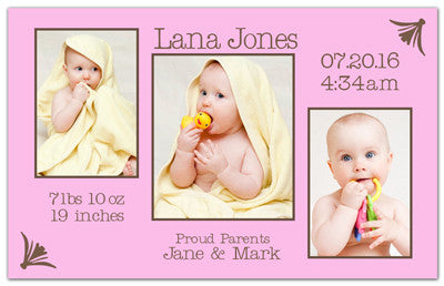 Girl Birth Announcement Magnet | Three Is A Charm | MAGNETQUEEN