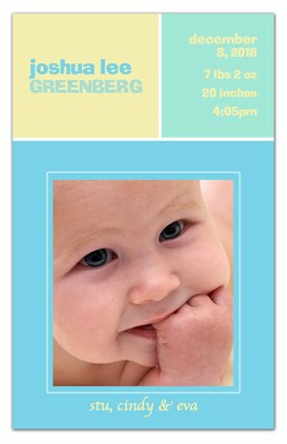 Baby Photo Magnet | Pastel Boxes Boy | MAGNETQUEEN