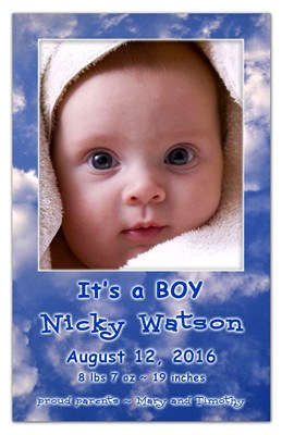 Birth Announcement Magnet  | In The Clouds Boy | MAGNETQUEEN