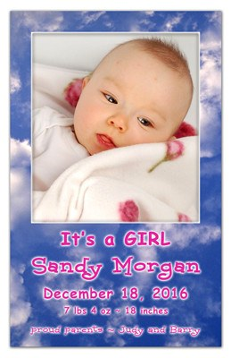 Birth Announcement Magnet | In The Clouds Girl | MAGNETQUEEN