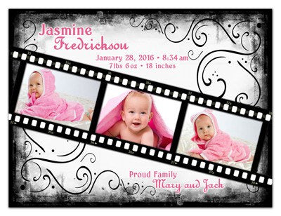 Personalized Photo Birth Announcements | Film Strip Girl | MAGNETQUEEN