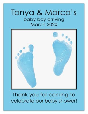 Personalized Baby Shower Photo Magnets | Blue Feet Boy