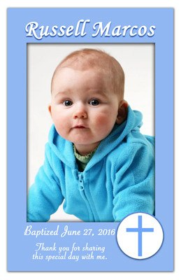 Christening Photo Magnets | Cross with Circle | MAGNETQUEEN