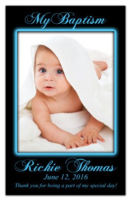 Christening Magnet Invitation | Blue Glow | MAGNETQUEEN