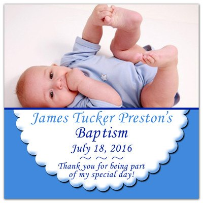 Baptism Fridge Magnets | Scalloped Edge | MAGNETQUEEN