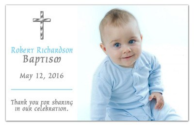 Baptism Photo Announcements | Silver Cross Boy | MAGNETQUEEN