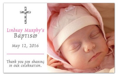 Baptism Photo Announcements |<br>Silver Cross Girl - MAGNETQUEEN