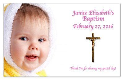 Photo Baptism Invitation Magnets | Cross | MAGNETQUEEN