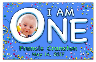 1st Birthday Photography Magnet | I Am One On Blue