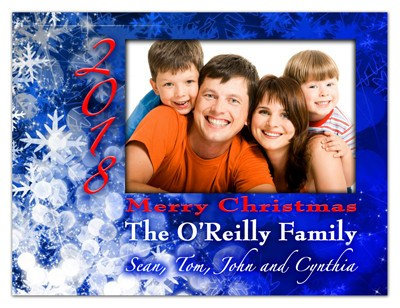 Christmas Photo Card Magnets | Blue Snowflakes | MAGNETQUEEN