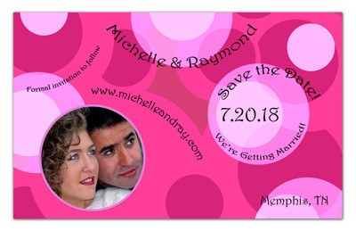 Pink Save The Date Wedding Magnets | Circles Circles Circles | MAGNETQUEEN