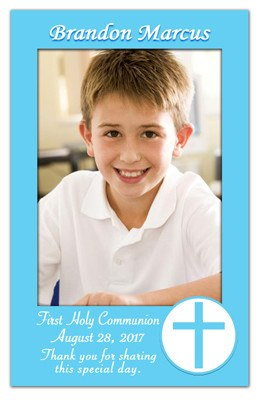 1st Holy Communion Magnet | Blue Border | MAGNETQUEEN