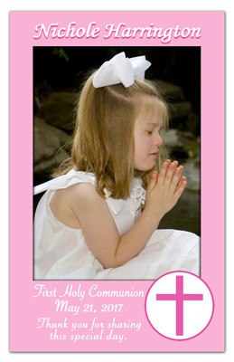 First Communion Save The Date Magnets | Pink Border Cross - MAGNETQUEEN