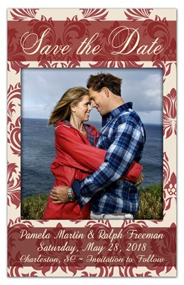 Save the Date Magnet | Damask In Red with Photo | MAGNETQUEEN