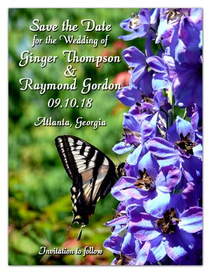 Save the Date Magnets | Delphinium with Butterfly | MAGNETQUEEN