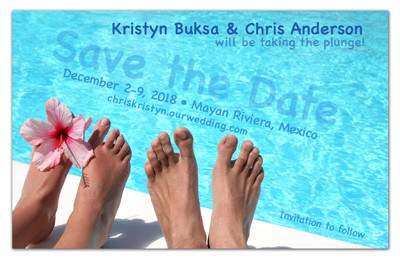 Beach Save the Date Magnet | Feet at Pool | MAGNETQUEEN