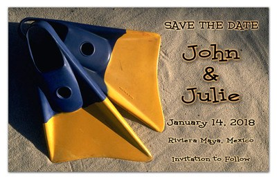 Beach Wedding Save the Date Magnets | Fins on Beach | MAGNETQUEEN