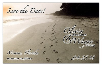 Save the Date Beach Magnets  | Footprints in Sand | MAGNETQUEEN
