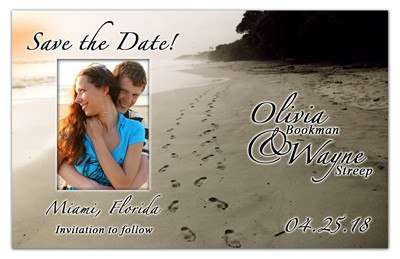 Save The Date Magnet | Footprints with Photo | MAGNETQUEEN