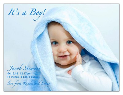 Magnetic Photo Baby Announcements | Handsome Baby Boy | MAGNETQUEEN